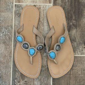 ✨ Skemo Rhinestone Turquoise Thong Sandals